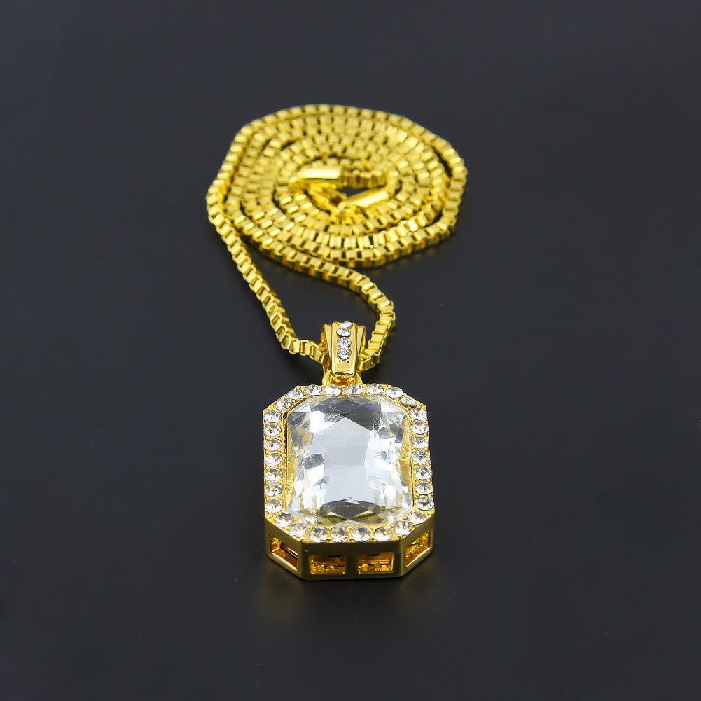 Men Hip Hop Necklace Brand Designer Jewelry Mens Gems Pendant Necklaces 18K Gold Plated New Fashion Accessories