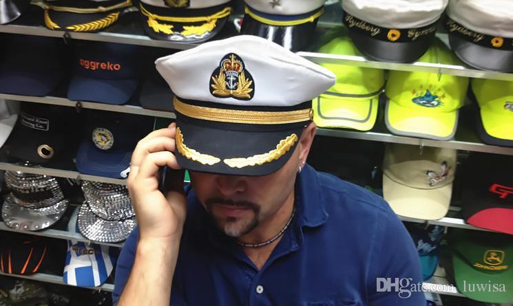 남자 여자 면화 선원 캡틴 모자 제복 제복 파티 코스 프레 스테이지 성인과 어린이 평면 해군 군사 모자를 수행 /