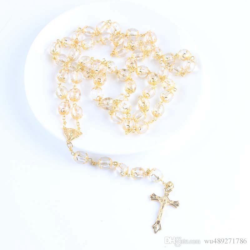 20 Polegadas Cruz de Ouro Pingente de Rosário Colar de Alta Qualidade 10mm Transparente Acrílico Beads Colares Com Virgem Maria Charme Pingente de Jóias