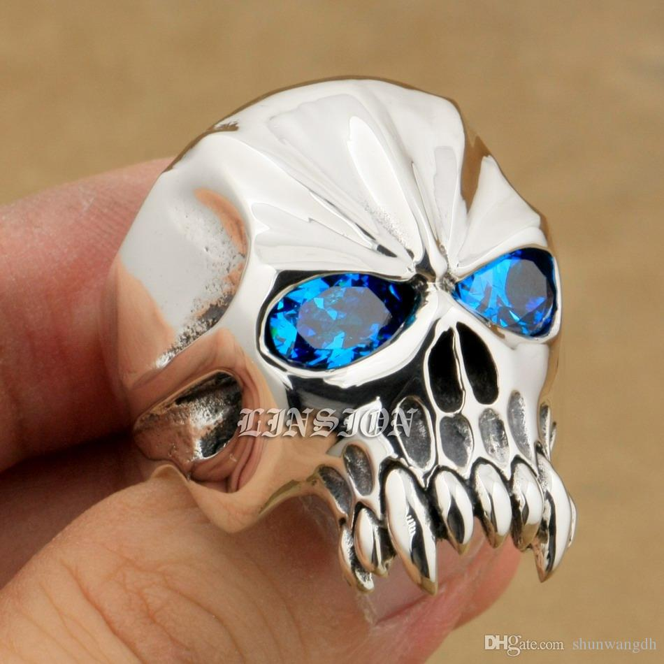 LINSION Huge Heavy 925 Sterling Silver Blue CZ Eyes Skull Mens Biker Rocker Punk Ring 9M204 US Size 7~15