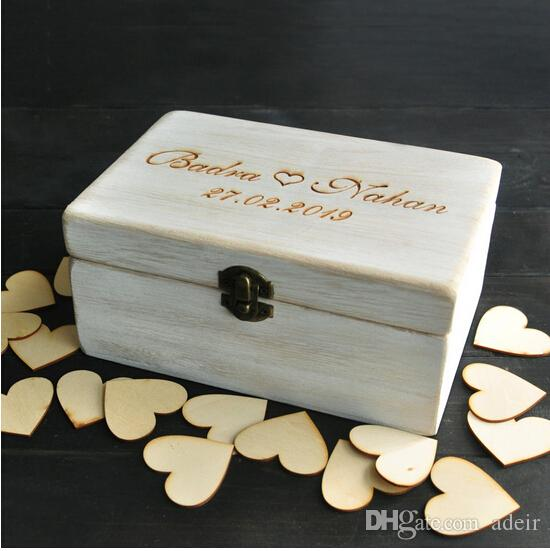 Wholesale Custom Wedding Guest Book Box Personalized Memory Box Rustic Wedding Guestbook Custom Wood Keepsake Box