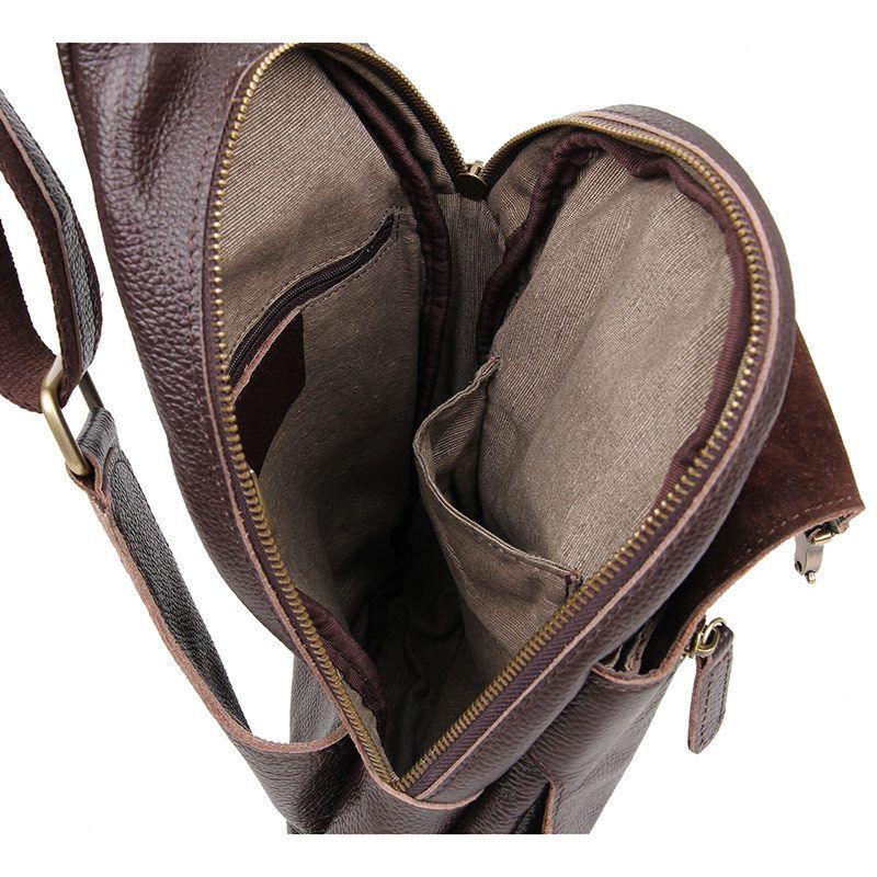 Hot Band Design Genuine Leather Chest Bag for Men Chest Pack Men Messenger Bags Vintage Single Shoulder Bags Crossbody Bags Bolsa Masculina