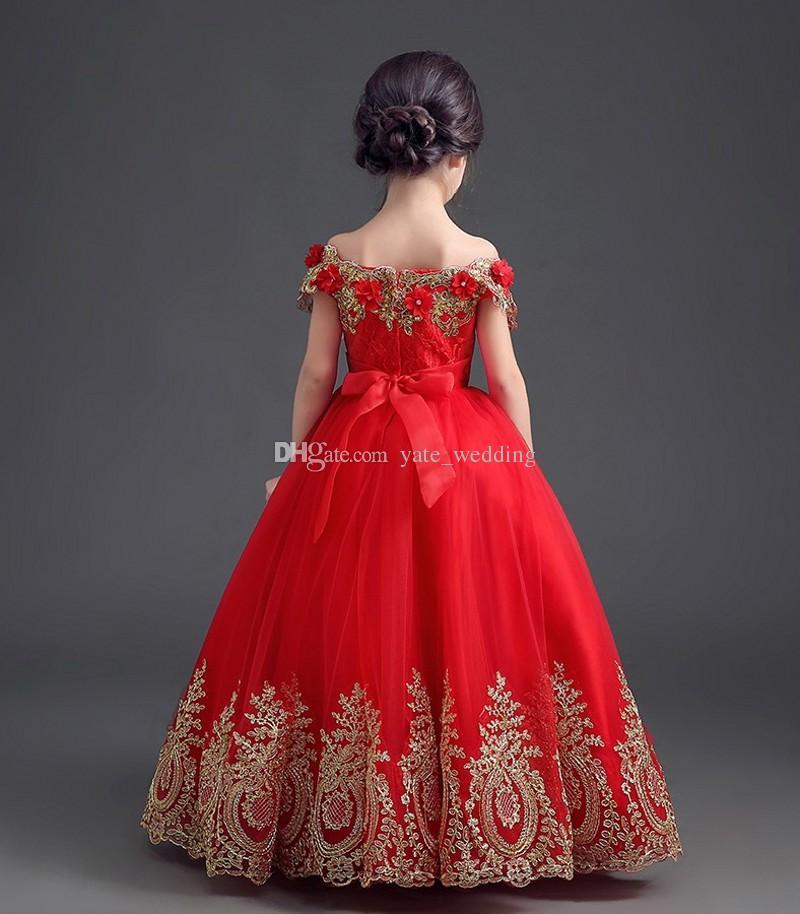 Элегантный Красный Принцесса Девушки Pageant Платья С Плеча Аппликация Длина Пола Бальное Платье Pageant Платья Для Подростков Малышей Девушки Цветок Платье