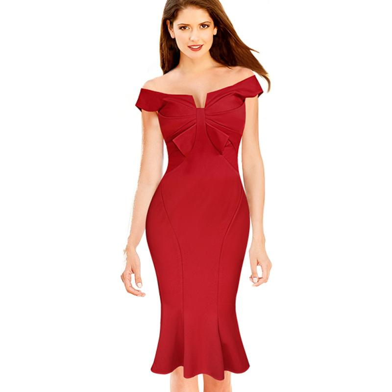 New Fashion Women s Elegant Sexy Bowknot Vintage Mermaid Ruched Tunic Off  Shoulder Party Fitted Stretch Bodycon Dress Party Dress Summer Dress 2017  ... 39864d4c3171