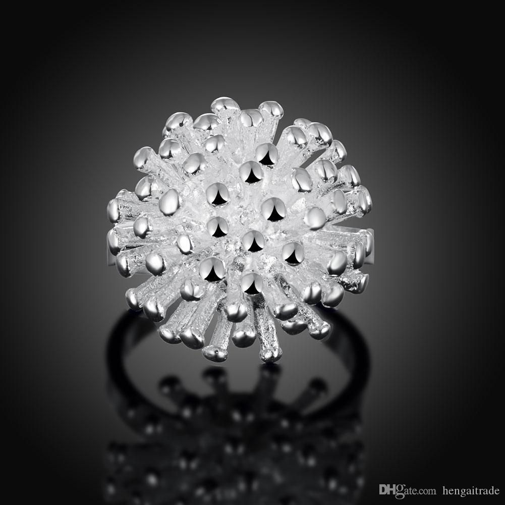 Wholesale 925 Sterling Silver Plated Fashion Fireworks rings Jewelry For Gifts LKNSPCR001
