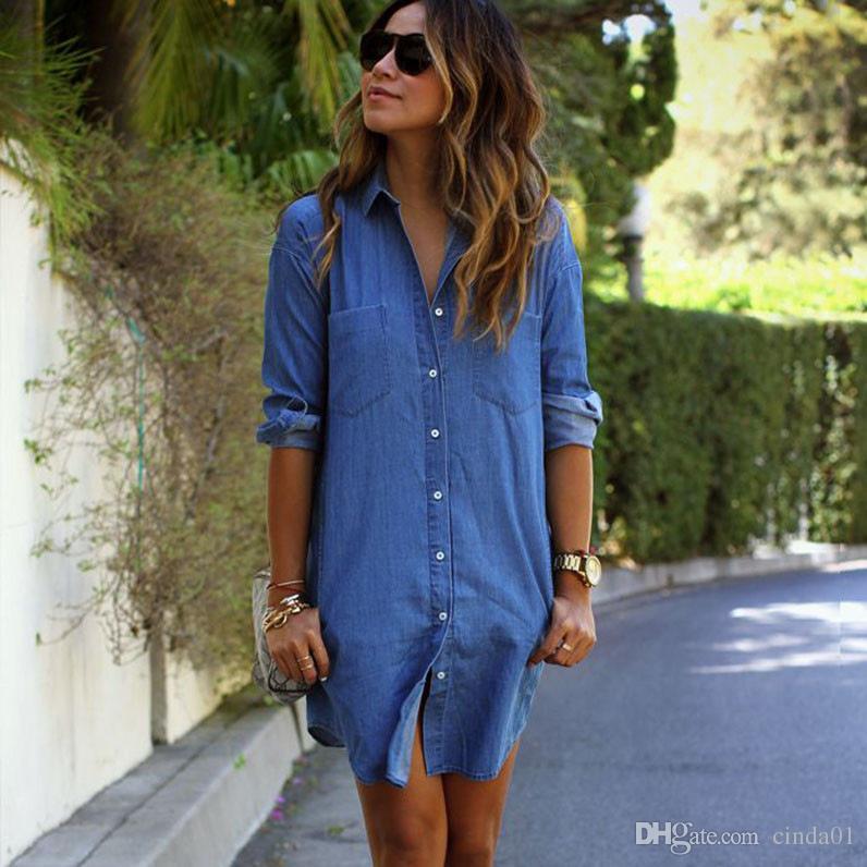 Kadınlar için yaz tshirt elbise denim günlük elbiseler gevşek İlkbahar sonbahar uzun kollu düğmeler tasarımcı elbise giyim