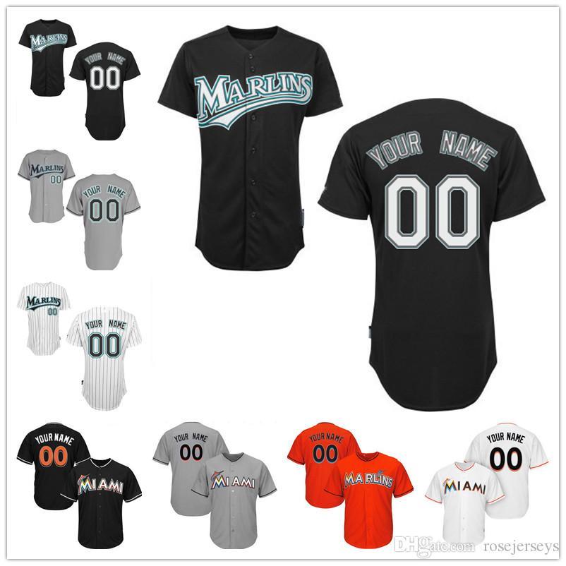 7fa75b4b3c4 ... Customized Florida Marlins Miami Mens Womens Kids Gray White Throwback  Black Orange Custom Stitched Your Any .