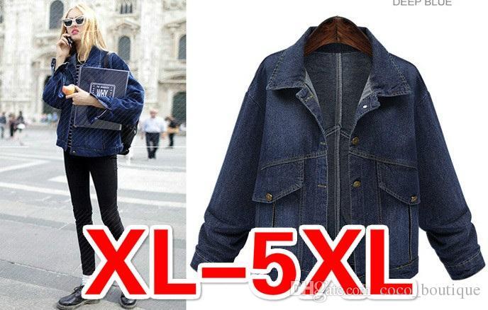 New Autumn Winter Plus Size Women Dark Blue Jeans Denim Jackets ...