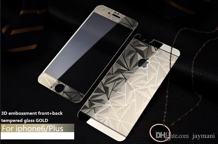 9H Front+Back 3D Diamond Mirror Effect Color Tempered Glass 0.3MM For Iphone4/5/6/ 6plus/7/7plus Film Case Screen Protector