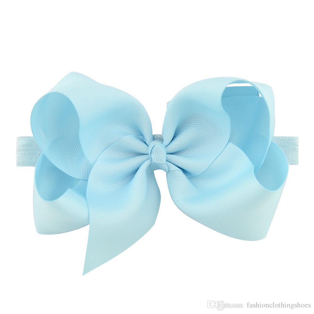 Девочки Большой лук ободки 6 дюймов Grosgrain ленты Boutique луки цветы оголовье малышей Упругие Hairbands Аксессуары для волос