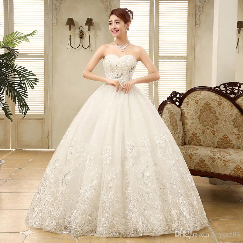 2017 New Arrive Strapless Embroidery Wedding Dress Large Size Ball ...