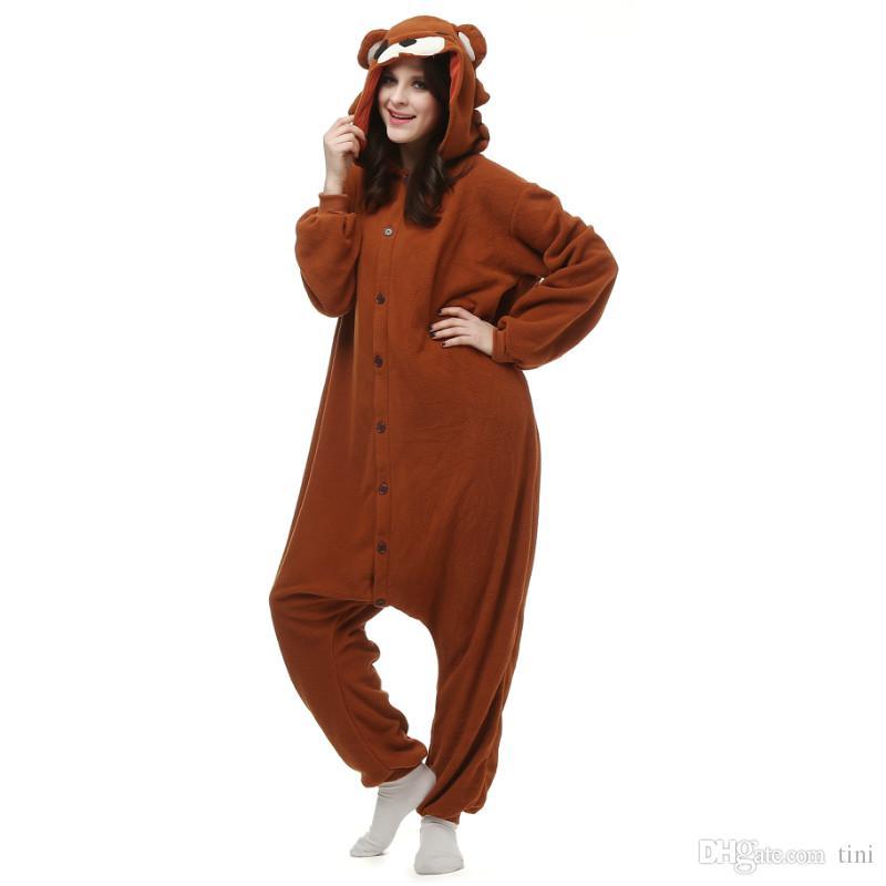 4e6e1ac814620 Acheter Ours Brun KIGURUMI Pyjamas Unisexe Costume Cosplay Animaux Adultes  Onesie Vêtements De Nuit Combinaison Déguisement S