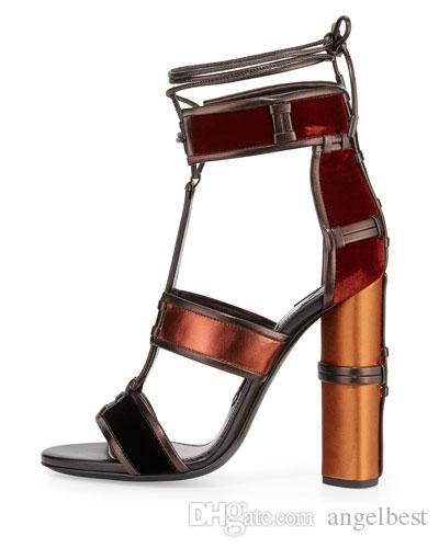 Brand Denim Leather Patchwork Gladiator Chunky Women Sandals Multicolor Lace Up Cage Sandals T-Strap High Heels Pumps Summer Shoes Woman