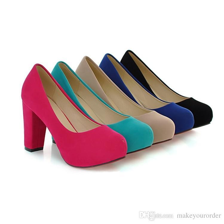 grossista trasporto libero prezzo di fabbrica venditore caldo dolce moda rotonda naso pantofola in pelle tacco grosso tacco alto donne shoes060