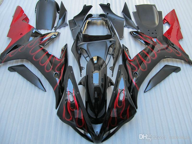 Aftermarket body parts Fairing kit for Yamaha YZF R1 2002 2003 red flames black fairings set YZF R1 02 03 OT17