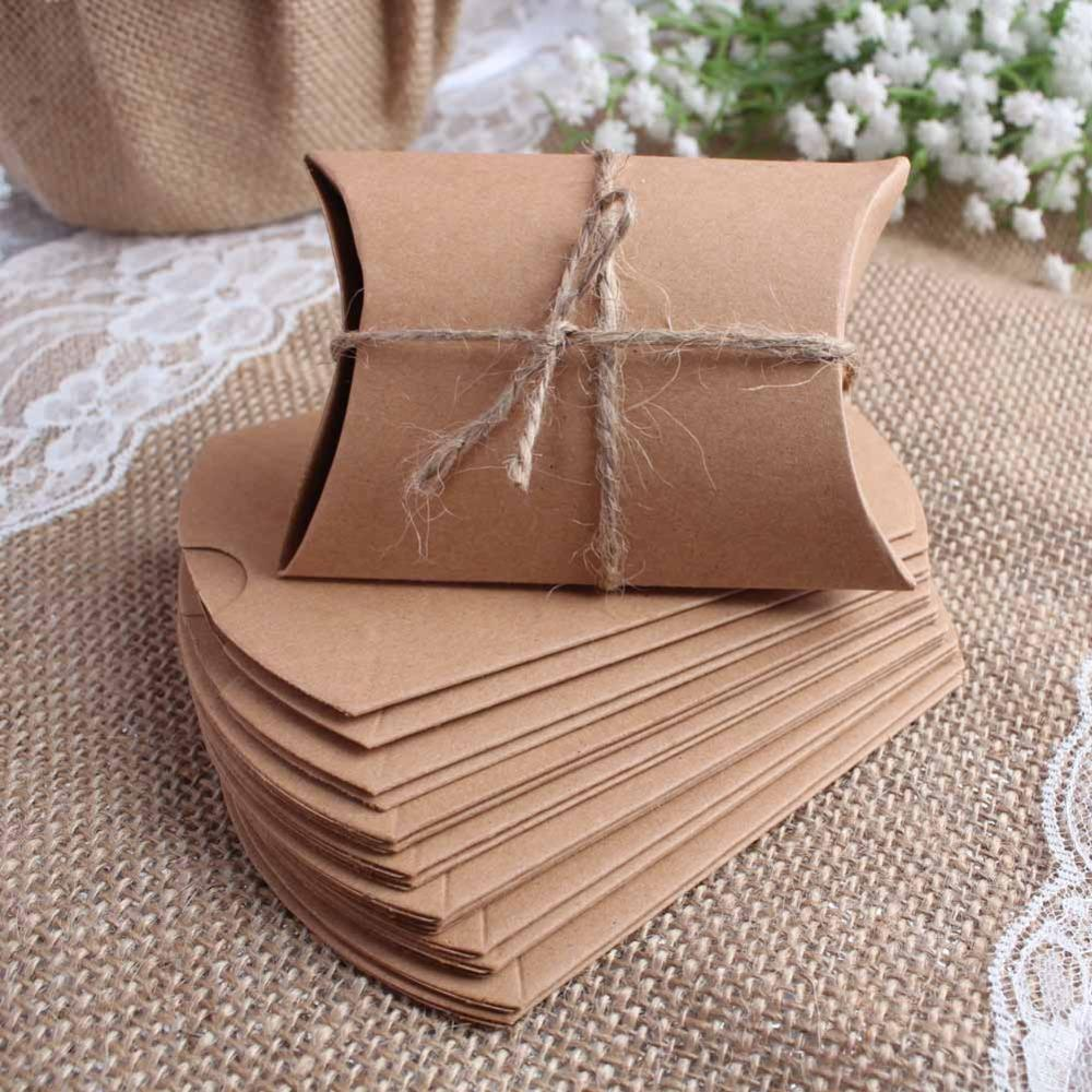 New Style Kraft Pillow Shape Wedding Favor Gift Bag Party Candy Box