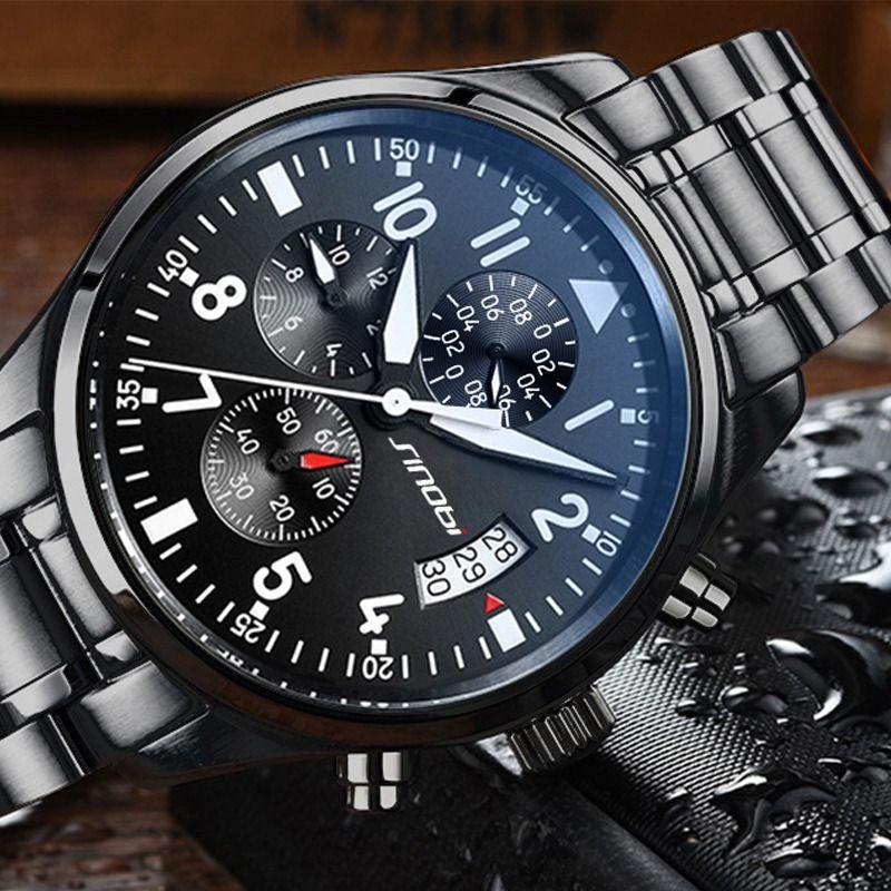 6f28f873b6b Compre SINOBI New Pilot Mens Cronógrafo Relógio De Pulso Data À Prova  D água Top Luxo Marca Stainless Steel Diver Males Geneva Quartz Clock De  Z119876522