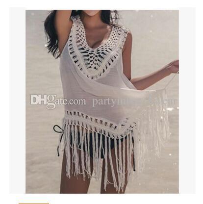 96ab92fd6ac8a Women Beach Bikinis Cover Ups Lace Tassel Sleeveless Dresses ...