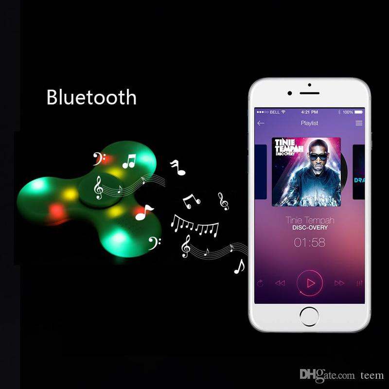 New Bluetooth Audio Fidget Spinner Toys Hand Spinners LED Light USB Charger Switch Button EDC Finger Decompression Anxiety Toy 150