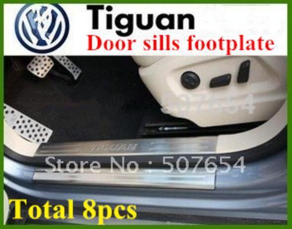 нержавеющая сталь 4external+4 внутренних пороги накладка для ног, защитные пластины, защитный бар с логотипом для Volkswagen Tiguan 2009-2015