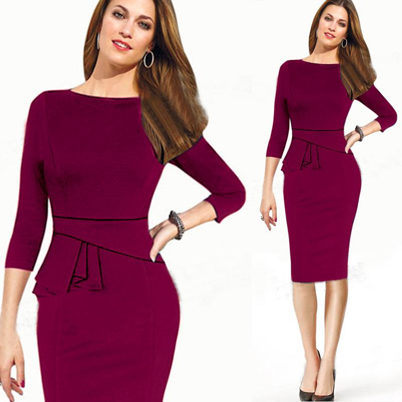 55b1e354ff9b 2019 Elegant Work Office Pencil Dresses Formal Business Slim Fit Bodycon  Dress 3 4 Sleeve Pleated Patchwork Ladies Clothing From Sinofashion