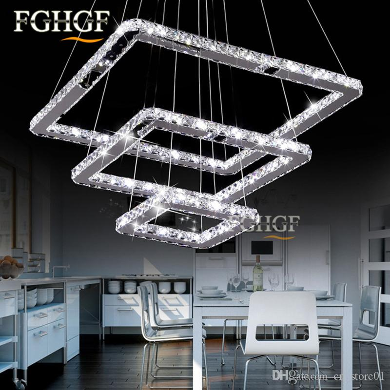 new design LED crystal chandeliers 5 squares lustres lamp dinning room living room chandelier LED light Lustres de cristal Fast Shipping