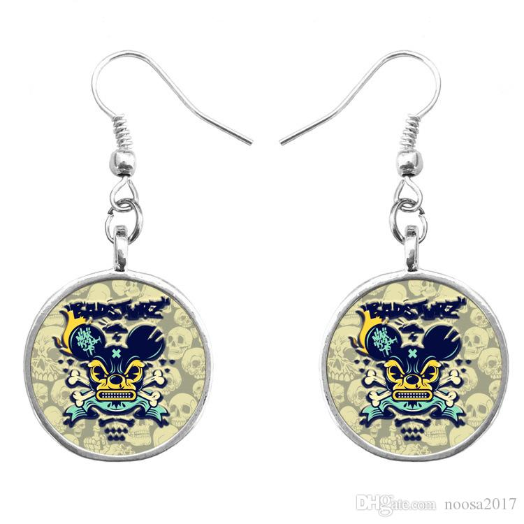 2017 new design skull head pendant earrings fashion romantic gem DIY jewelry best gift for lover suitable for Halloween wholesale