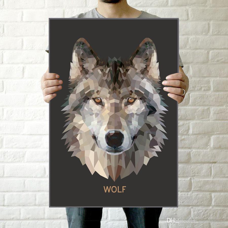 Großhandel Geometrisches Wolf Kopf Segeltuch Kunst Druck Plakat ...
