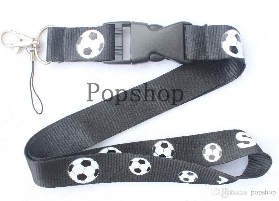 Soccer ball Lanyard Keychain Key Chain ID Badge cell phone holder Neck Strap.