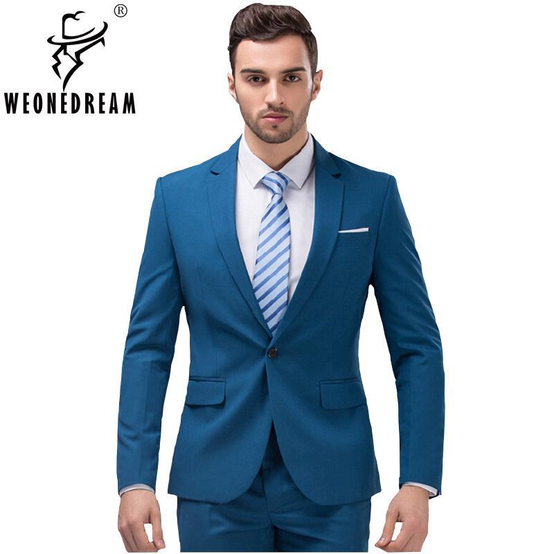 Compre 2 Piezas Chaquetas + Traje De Pantalones 2018 Nuevos Trajes Para  Hombre De Moda Marca De Moda Masculina Slim Fit Traje De Novia De Boda  Esmoquin S ... c4ab49deb27