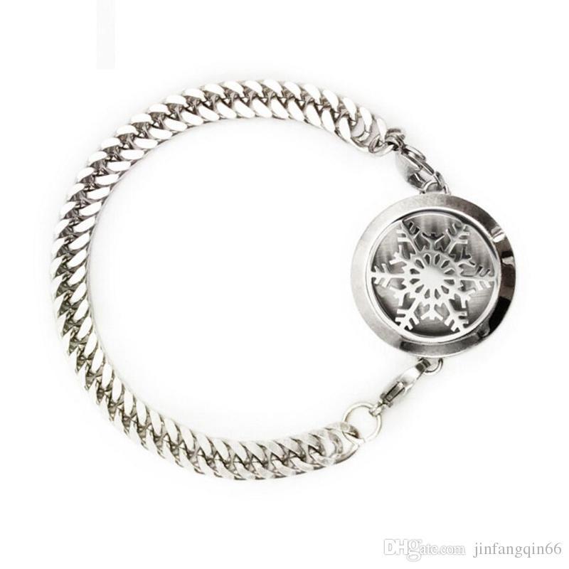 Pulsera del medallón del perfume del acero inoxidable 316L pulsera del medallón del girasol del difusor de la pulsera del locket de 25m m 30m m con las almohadillas de fieltro sin cadena