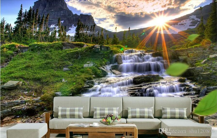 Custom 3d Mural Wallpapers Hd Landscape Mountains Lake: 3d Room Wallpaper Custom Photo Mural Natural Landscape
