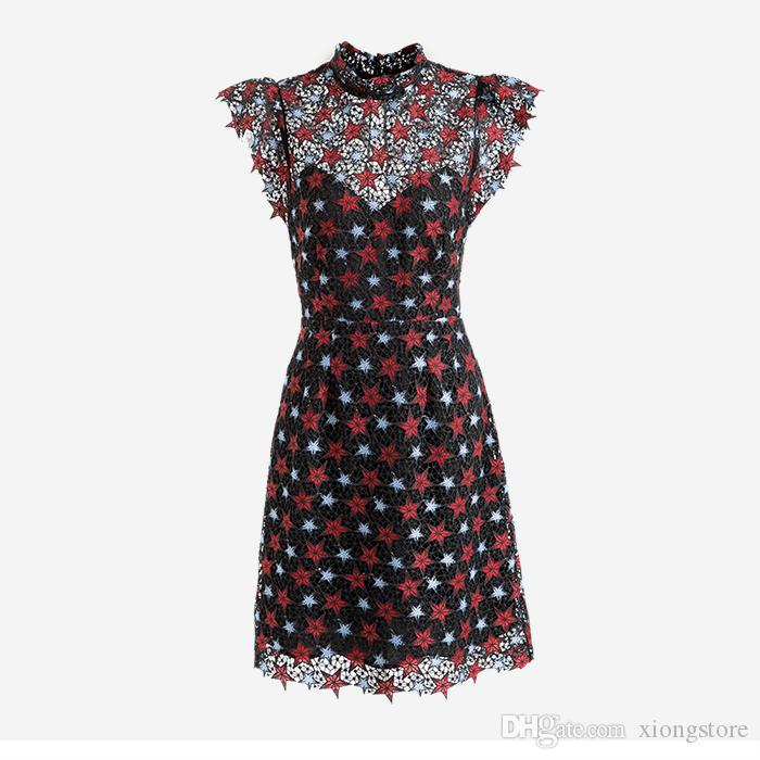 black Stars printed lace dress stand collar petal sleeve hollow out high waist party dresses 2019 fashion elegant sexy women dresses