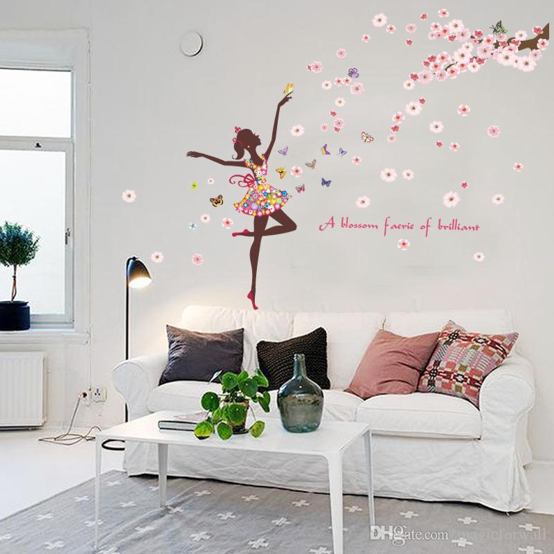 Blossom Faries Peach Flowers Tree Branches Butterfly Wall Stickers Home Decor Wallpaper Poster Art Girls Room Living Room Background Graphic