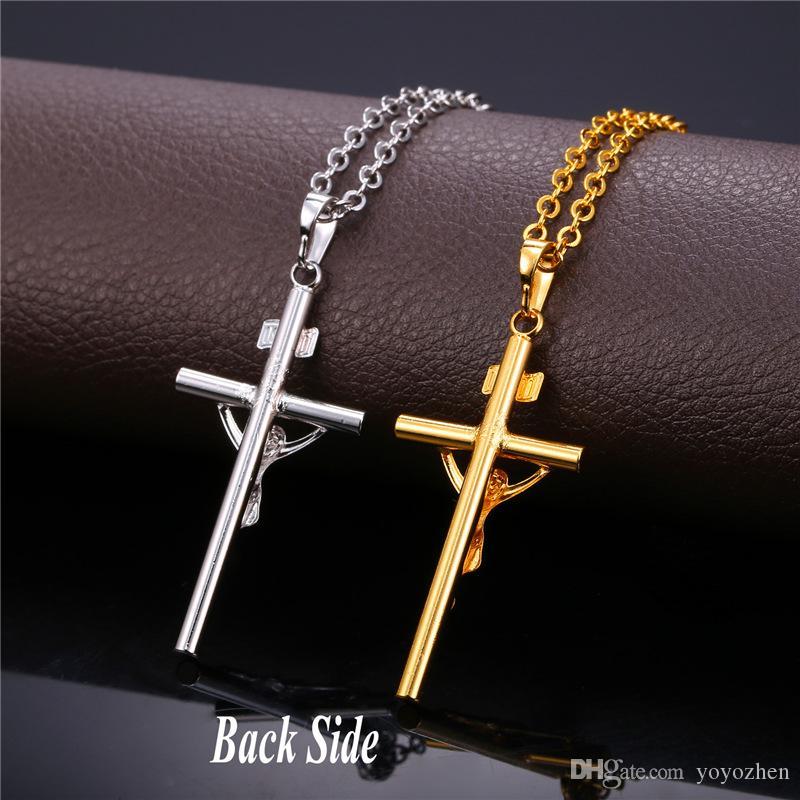 女性や男性のための18Kゴールドメッキの十字架のペンダントプラチナメッキイエスピースジュエリーのネックレス