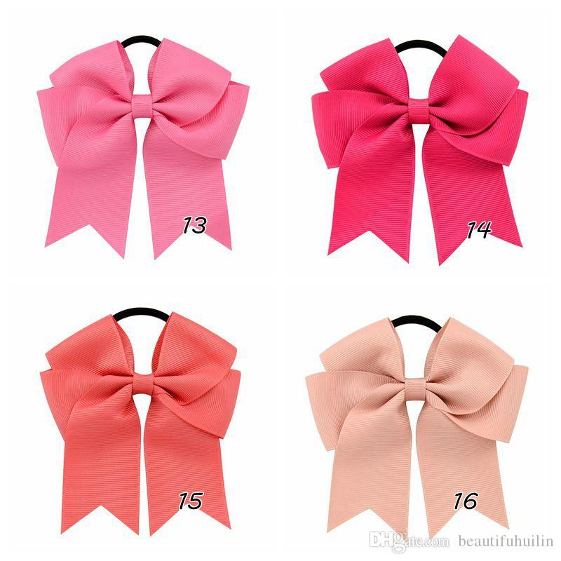 4.5 Inch Solid Girls Grosgrain Ribbon Cheer Bows Rubber Band Hairbands/Bow Elastic Band Ponytail Hair Holder Beautiful HuiLin C27