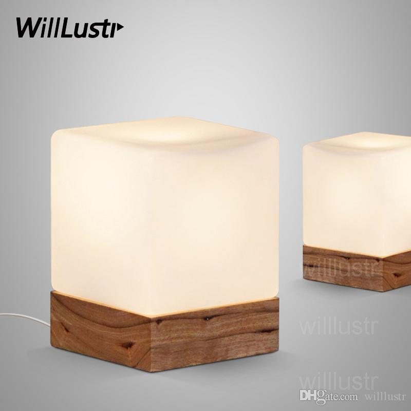 2019 Willlustr Cubi Table Lamp Cubic Frosted Glass Shade Oak Wood