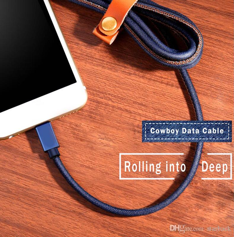Byloly 3ft 5ft 6ft Durable Cowboy Braided Data Cable Micro USB Fast Charging for V8/Type C with Retail Packing.