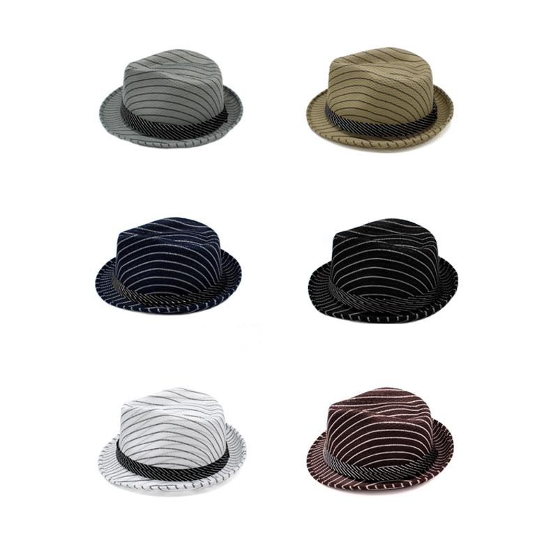 d92e5b91f0e New Striped Men Women Sun Hats Soft Fedora Panama Hats Outdoor ...