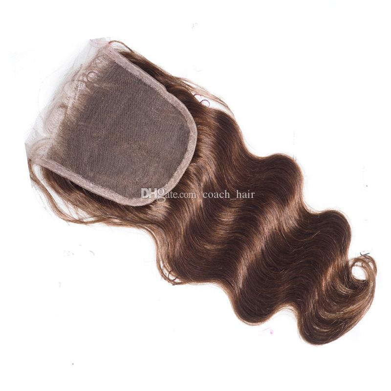 Virgin Malaysian Brown Hair Bundles With Lace Closure Chocolate Medium Brown Color #4 Body Wave Human Hair Weaves With Free Part Top Closure