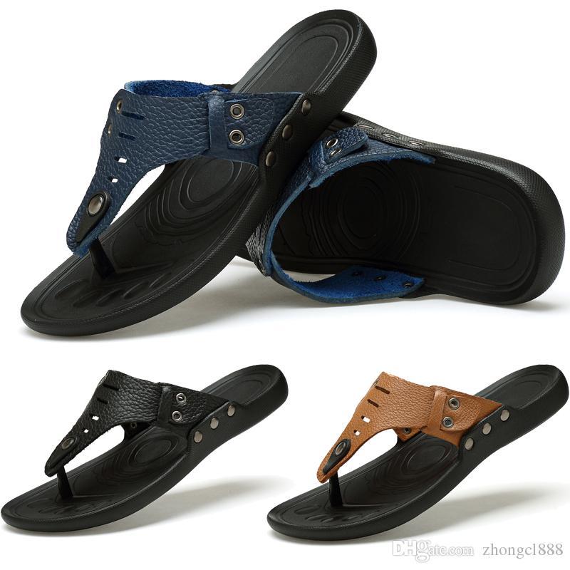 cd5e43728 Men Fashion Leather Sandals Beach Shoes Fashion Men Beach Flip Flops ...