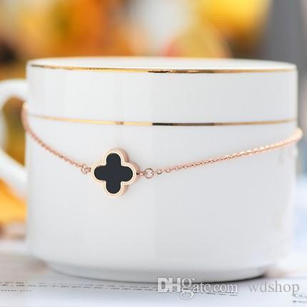 Lucky Four-Leaf Clover High-End Bracelets With 18K Rose Gold Plated Adjustable Lobster Clasp Extension Chain Fashion Fine Jewelry