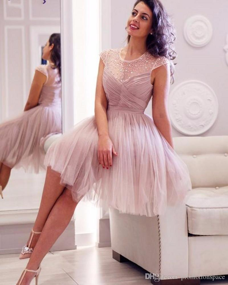 Cap Sleeves Short Prom Dresses 2017 Sheer Neck A Line Short Prom Party Formal Gown Beaded Dress Graduation