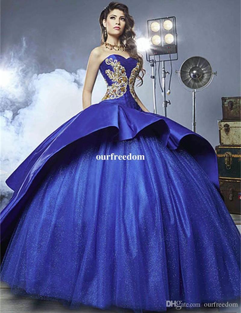 Royal Blue Quinceanera Dresses 2019恋人ビーズボールガウンフロアリングプロムドレスVestidos de 15 Anos誕生日パーティー甘い16ドレス