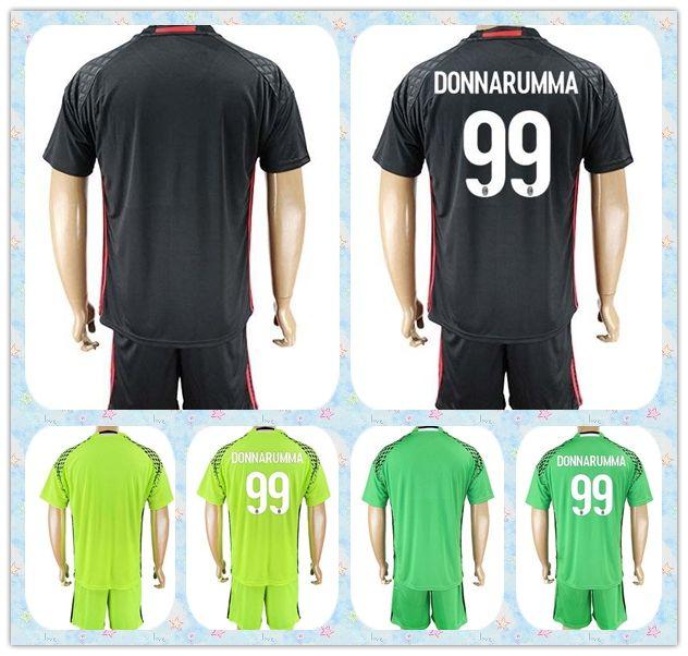 52ff0f45ba2 ... club jersey 0875b 6b6a9 cheapest top fast uniforms kit 2017 2018 soccer  jersey ac milan 99 donnarumma goalkeeper black green ...