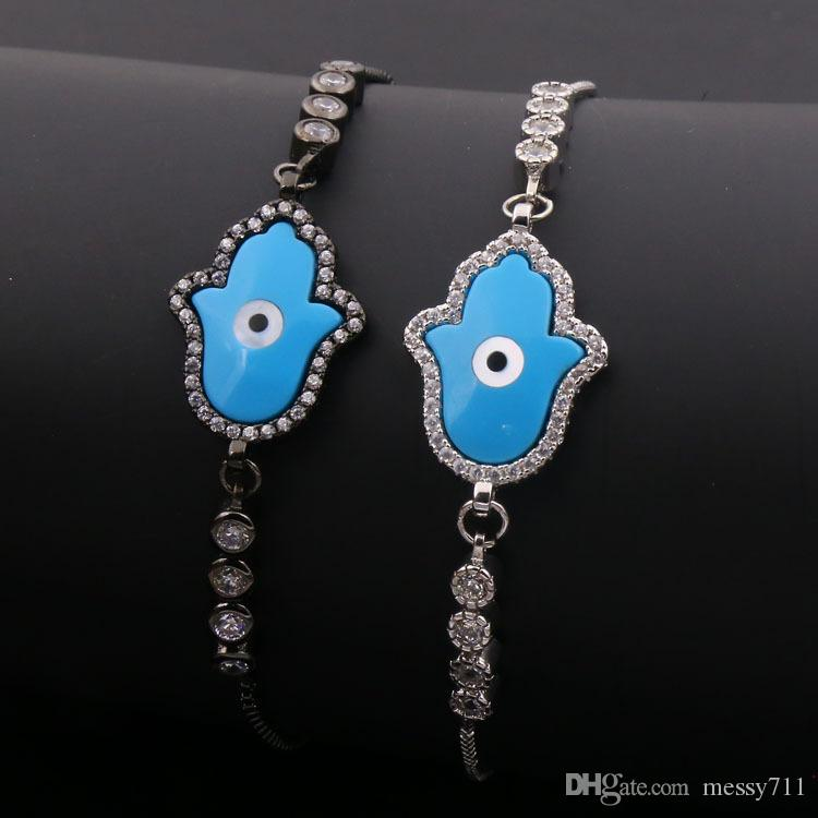hot sale Wholesale and retail copper box chain round model silver or black color palm and eye blue color