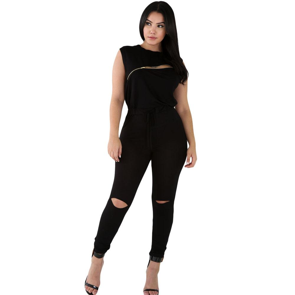 d65b180dbbb9 Wholesale- Jumpsuits Rompers Womens Fashion Jumpsuit Sleeveless Long Zip  Line Stretchy Playsuits Black Overalls Bodycon Rompers Plus Size Jumpsuit  ...