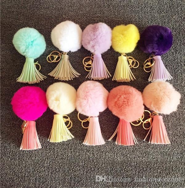 Popular Pompoms Keychain Rabbit Fur Ball Keychain Gift Genuine Rabbit Fur Pendant Phone Tassel Fur Pompom Accessory DHL free 100pcs
