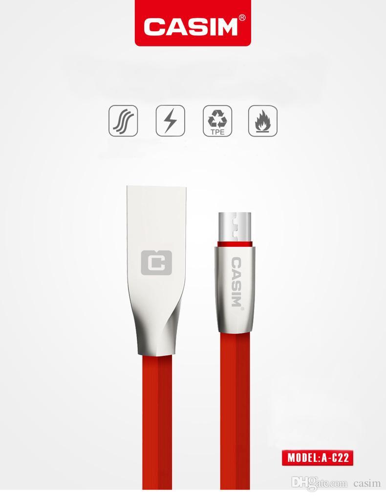 Samsung LG Huawei Android için hakiki Veri Hattı Casim Şarj Mikro USB Kablo Cord'un Bakır Lüks Metal