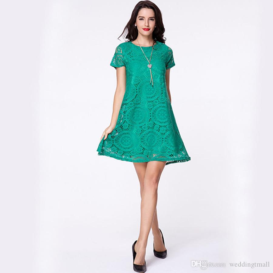 Lace Casual Dress Women 2018 Black Green Summer Dresses Short ...